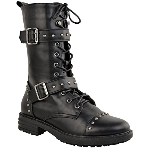 Fashion Thirsty Womens Chunky Studded Flat Ankle Boot Biker Strappy Winter Calf High Size
