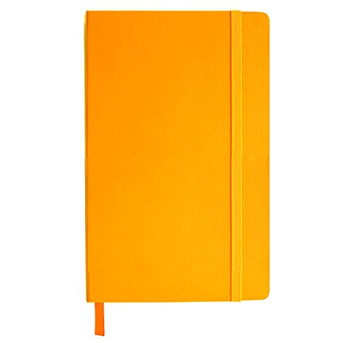 80-Page Journal, Orange Faux Leather with Bookmark, Document Pocket, Strap Closure. ()