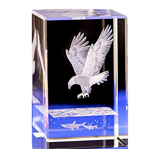 Lucky House Crystal Glass Cubic Eagle Fish Town Paper 3D Laser Sculpture Statue Feng Shui Souvenir Craft Gift (Eagle ()