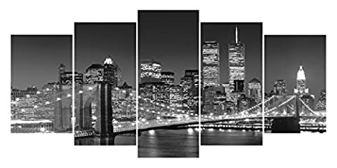 Funpark Art Black and White Broooklyn Bridge Night View 5 Panels Modern Landscape Canvas Prints Abstract Contemporary Cityscape Wall Art ()