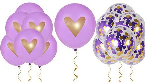 Purple Gold Confetti Heart Balloons Love 12