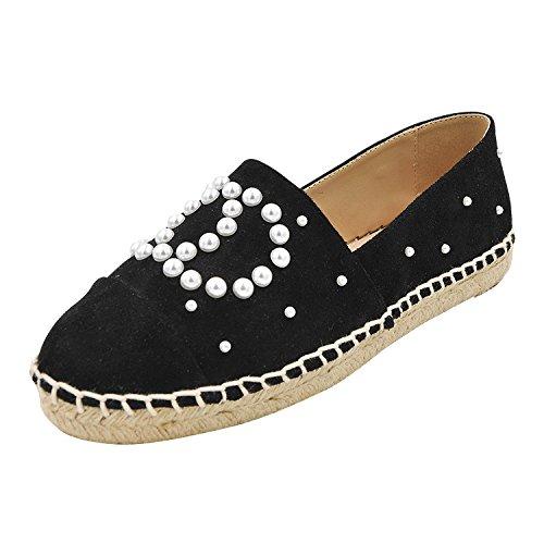 singola nera vento 37 perla tonda testa ossa piccolo perla scarpe A di a ossa FONDO con scarpe fondo paglia piatto lazy PIATTO pigro scarpe fragrante decorato donna 0qnFO4wF
