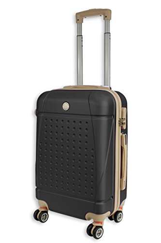 Rocklands Lightweight 4 Wheel ABS Hard Shell Luggage Suitcase Cabin Travel Bag ABS18 (20″ Small (Cabin Size), Black)