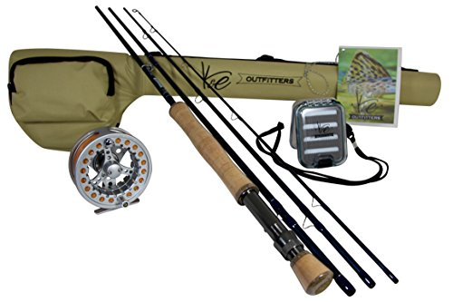 K&E Outfitters Drift Series 8wt Fly Fishing Rod and Reel Complete Package (Silver Reel)