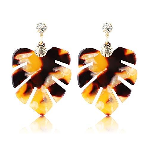 Women Drop Dangle Leaf Earrings Resin Minimalist Bohemian Statement Jewelry (acrylic earrings Gold) ()