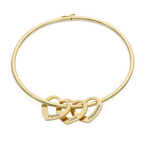Personalized Bracelet Bangle with Heart Pendants -Custom Multiple Chaem 18k Gold Plating (In Bangles Bulk)