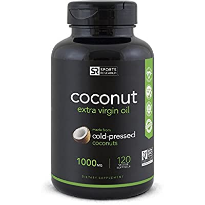 Sports Research Vegan Coconut Oil Capsules Made from Organic Coconuts | Vegan Certified,Non-GMO Project Verified (120 Veggie-softgels)
