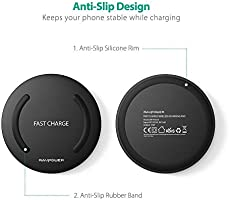 Wireless Charger RAVPower Qi-Certified Fast Wireless Charging Pad Quick Charge, 10W Fast Charge Galaxy S9 S8+ S8 S7 Edge S7 & Standard Charge ...