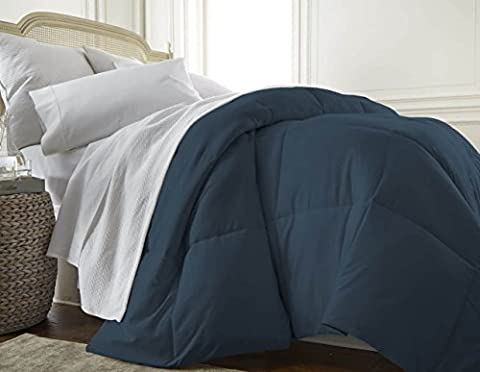 ienjoy Home Collection Down Alternative Premium Ultra Soft Plush Comforter, Navy, Full/Queen - Blue Plush Mattress Set
