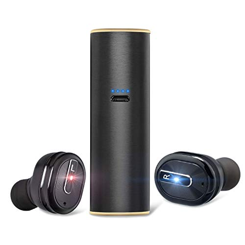 Wireless Bluetooth Earbuds, TWS Bluetooth 5.0 Headphones with Mic and Charging Case, Hi-Fi Quick-Pair Bluetooth Earphones 15H Playtime for iPhone and Android (Black)