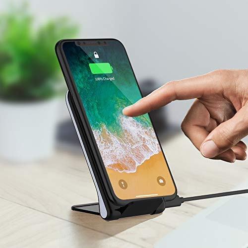 Tikitaka Fast Wireless Charger, 10W Foldable Fast Wireless Charging Pad Stand for Samsung Galaxy Note 8 S8 S8 Plus S7 S7 Edge Note 5 S6 Edge Plus, Standard Charge for iPhone XS Max/XR/XS/X/8/8 Plus