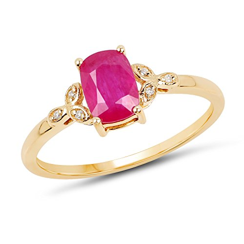 (14K Yellow Gold Ruby & White Diamond Ring (1.02 ctw, I-J Color, I2-I3 Clarity) from Johareez)