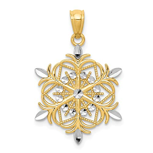 14k Yellow Gold Snowflake Pendant Charm Necklace Winter Fine Jewelry For Women Gift Set