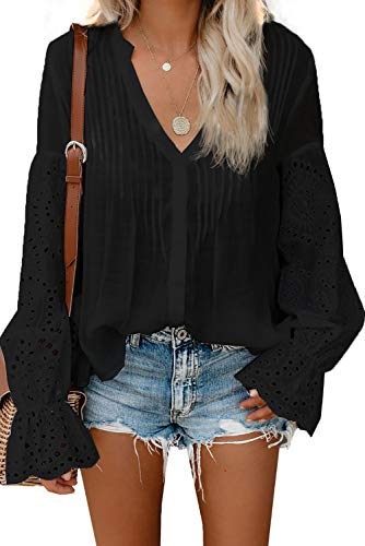 Asvivid Womens Button Down V Neck Tops Hollow Out Lace Crochet Pleated Flared Long Sleeve Tunics Loose Office Blouses Plus Size 2X Black