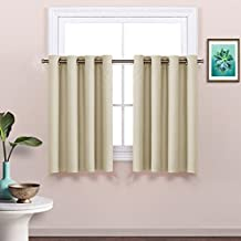 NICETOWN Eyelet Blackout Curtain Panels - Functional Thermal Insulated Window Treatment, 52W by 36L Inches - Beige