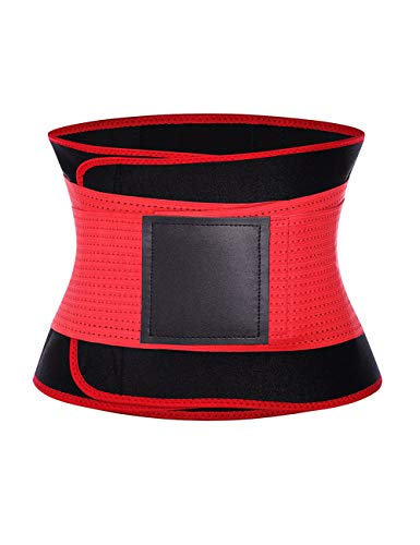 Waist Trainer Women Slimming Body Shaper Belt Sport Girdle Belt Corset Sauna Sweat Tummy Control Plus Size Red 3XL -