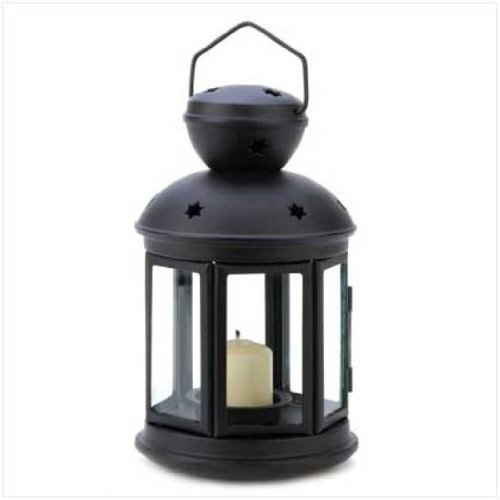 (Gifts & Decor Black Colonial Style Candle Holder Hanging Lantern)