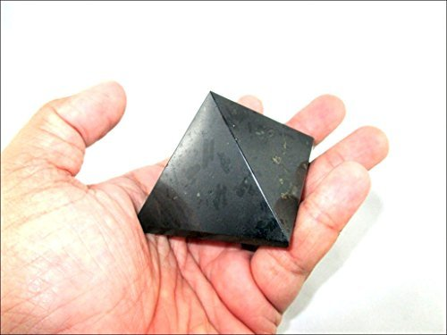 Accessories Tumbled Black - Jet Black Tourmaline Pyramid Stone India Handcrafted 1.25 - 1.5 inch approx. A++ Crystal Pouch Stress Relief 40 Page Jet International Crystal Therapy Booklet Gemstone