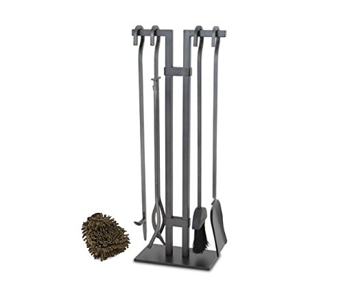 (Pilgrim 18088 Sinclair Fireplace Tool Set, Home and Hearth, Natural Iron (Complete Set) w/ Bonus: Premium Microfiber Cleaner Bundle)