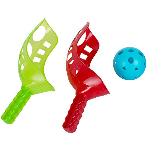 Enshey Fun-Air Scoop Ball Scoop and Ball Toss Set Toss Catch Game Trackball Sport Trac Ball Lacrosse Racket Game Plastic Lacrosse Activities, Improve Hand Eye Coordination for Lawn, Camping & Beach ()