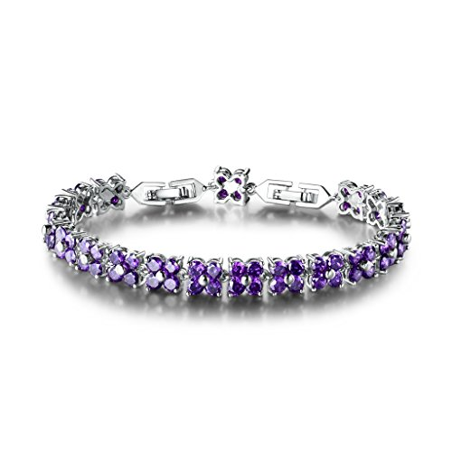 (GULICX White Gold Plated Brass Purple Cubic Zirconia Crystal Women Tennis Bracelet for Women)