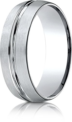 Benchmark 10k White Gold 7mm Comfort-Fit Satin-Finished with High Polished Center Cut Carved Dsn Band, - Band Wedding Finished Carved