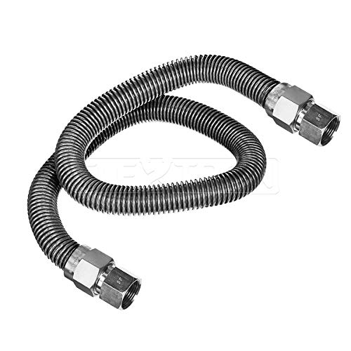 - Flextron FTGC-SS12-60O Gas Connector, Used to Connect Gas to Appliances, Gas Hose For Dryer, Uncoated Stainless Steel With 5/8 in. Outer Diameter and 1/2 in. Inside Diameter; 3/4 in. FIP Fittings; 60 in. Long