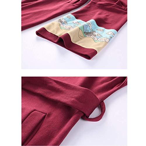 Anchas Batas cuello V Manga Casuales Larga Cinturón Mujer Camisones Otoño Primavera Abrigos Especial Elegantes Albornoz Largos Con Sauna Estilo Cómodo Winered Fashion A7Uwfnq6cO