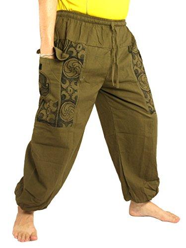(jing shop Casual Boho Print Pants Soft Cotton Olive Green)