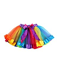 Tenworld Girl's Dress up Petticoat Skirts Rainbow Tutu Skirt Dance Dress