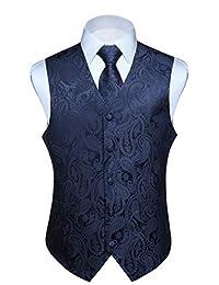 HISDERN Men's Paisley Jacquard Solid Waistcoat & Necktie and Pocket Square Vest Suit Tuxedo Set