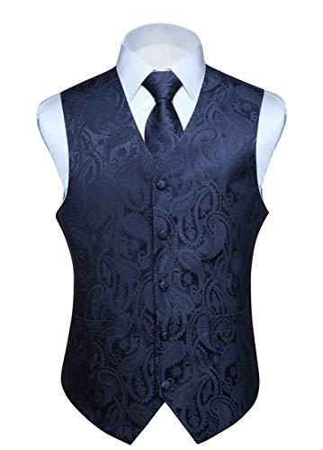 - HISDERN Men's Paisley Jacquard Solid Waistcoat & Necktie and Pocket Square Vest Suit Tuxedo Set Navy Blue