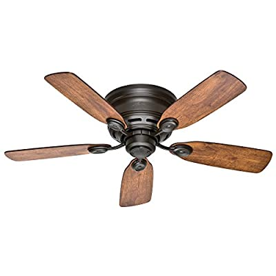 """Hunter Fan 42"""" New Bronze Finish Low Profile Ceiling Fan with Reversible Weathered Oak / Wine Country Blades (Certified Refurbished)"""