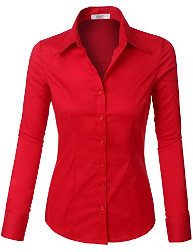 - LE3NO Womens Tailored Long Sleeve Button Down Shirt with Stretch