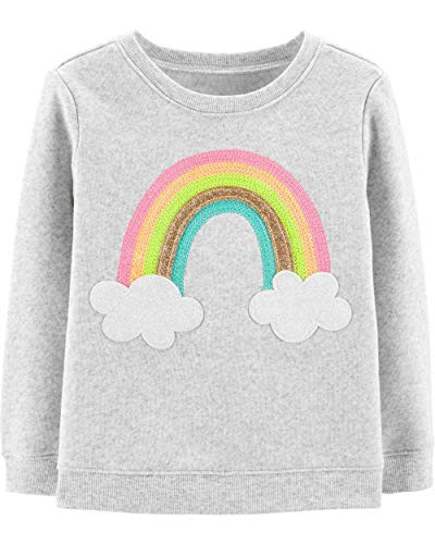 Osh Kosh Girls' Toddler Sequin Crew Neck Sweatshirt, Rainbow Glitter, 3T
