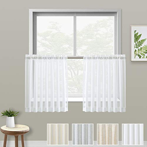 XWTEX White Kitchen Tier Curtains Rod Pocket Linen Like Privacy Semi Sheer Drapes Half Window Curtain Panels for Bathroom, 2 Panels, 36