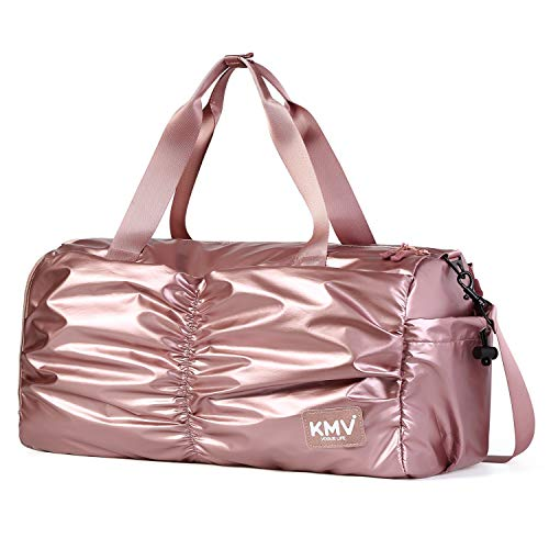 Gyms Bag with Shoes Compartment Mens/Womens Waterproof Sport&Travel Duffel Black and Rose Gold
