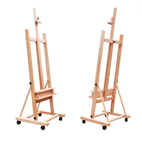 ShowMaven Extra Large 360-Degree Spinner Wheel Rolling H-Frame Adjustable Red Beech Wood Studio Painting Artist Easel