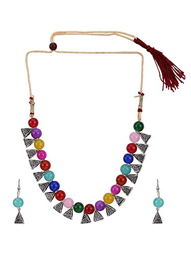 Efulgenz Boho Indian Oxidized Gold Faux Multicolor Pearl Beaded Vintage Tribal Statement Choker Necklace Earrings Jewelry Set ()