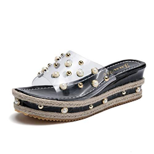 (Women's Platform Mules Transparent Upper Elegant Pearl Beads Fahion Hemp Element Soft Comfy Jeweled Slide Sandals Black)