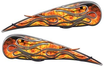 Amazoncom Inferno Motorcycle Gas Tank Flame Decals Automotive - Decal graphics for motorcycles