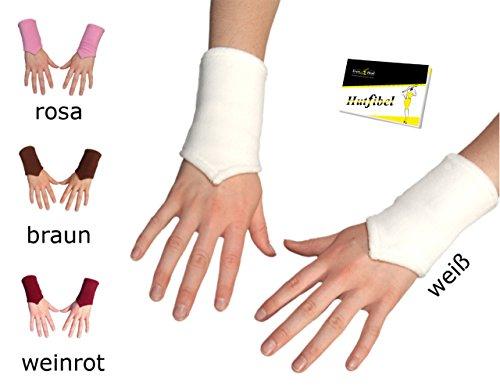Pulswärmer für Damen und Mädchen kuschlig warm (FBA-118-1) weiss, Einheitsgröße - inkl. EveryHead-Hutfibel