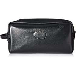 Budd Leather Company Cowhide Toiletry Bag with Top Zipper and Engraving Patch, Black, 3 Pound