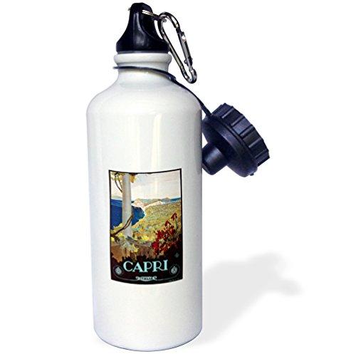 3dRose wb_126045_1 ''Vintage Capri Italy Italian Travel Poster'' Sports Water Bottle, 21 oz, White by 3dRose