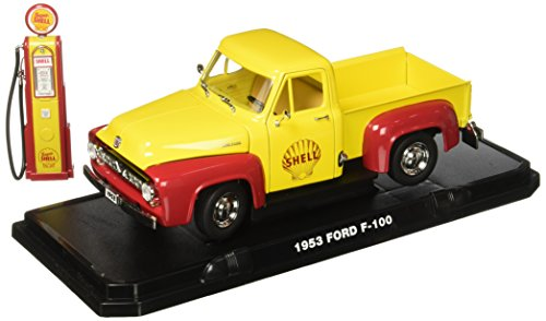 GreenLight 1953 Ford F-100 Shell Oil with Vintage Shell Gas Pump (1:18 Scale) Vehicle