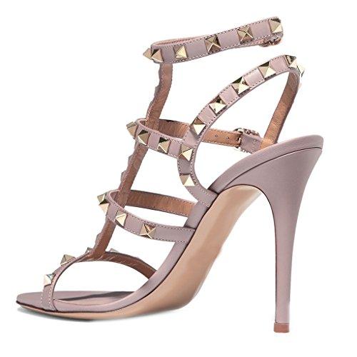 Comfity Hakken Sandalen Voor Vrouwen, Strappy Gladiator Schoenen Slingback Stiletto Hakken Jurk Partij Bruiloft Sandalen Roze