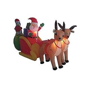 8.5' Airblown Inflatable Santa on Sleigh w/Reindeer Lighted Christmas Yard Decor