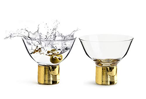 Stems Mixed (Sagaform Deluxe Stemmed Cocktail Glasses, 2 Pack – Short Martini Glass for Mixed Drinks, Glass with Gold Stems – Elegant Design for Weddings, Parties, Bars and Home)