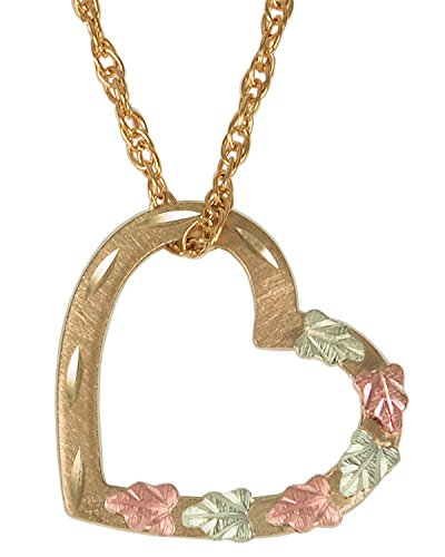 "Tri-Color Black Hills Gold Floating Heart Pendant Necklace, 18"" by The Men's Jewelry Store (for HER)"