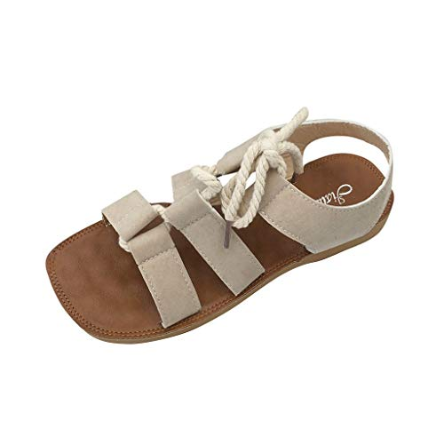 Pandaie Womens ... Sandals  Women Fashion Roma Soft Flat Sandals Beach Student Round Toe Shoes Beige
